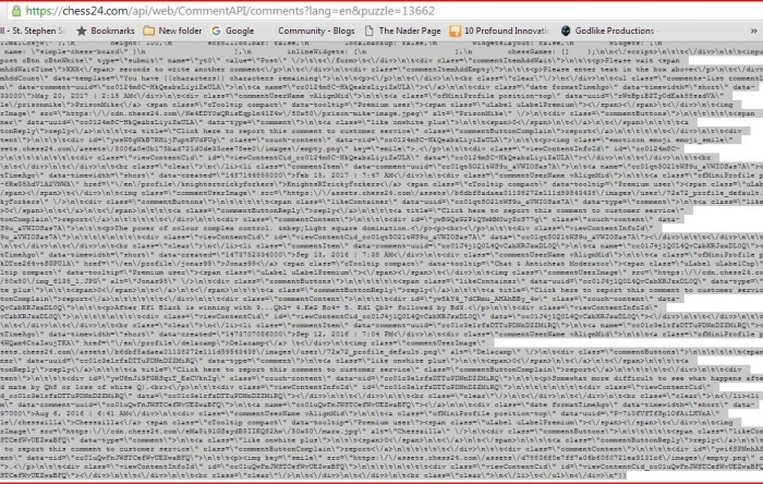 When attempting to post to tactics trainer I get html