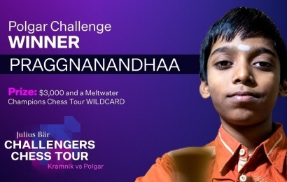 Praggnanandhaa powers into Champions Chess Tour