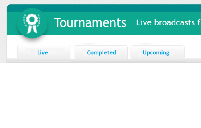 Live tournaments tabs (Upcoming, Live, Completed)