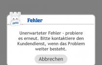 "Android App ""unerwarteter Fehler"""