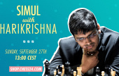Don't miss your chance to play Harikrishna on chess24