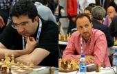 Round 5 board pairings: Kramnik-Topalov, Aronian-Carlsen
